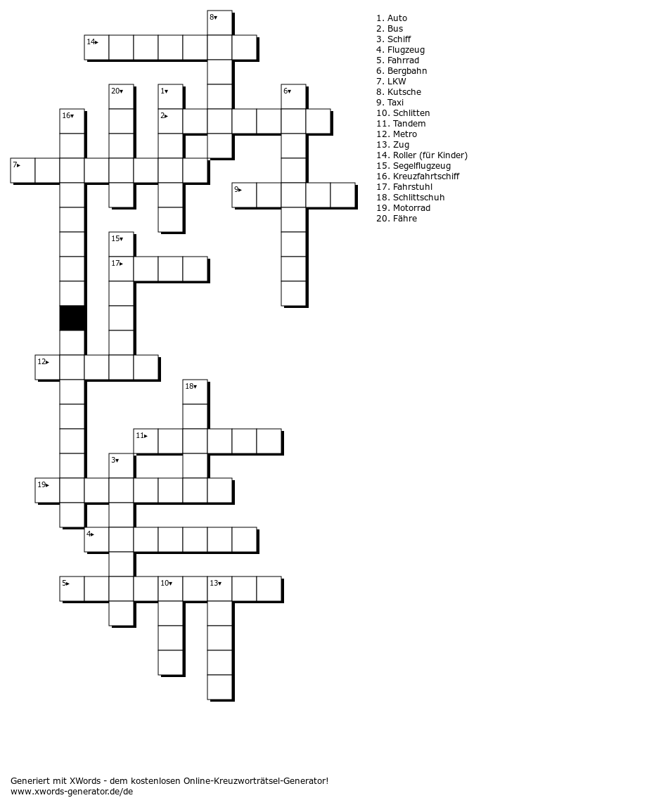 Kreuzworträtsel über Verkehrsmittel